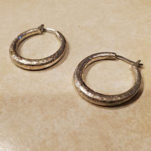 Claire's Small Faux Hammered Silver Hoop Earrings